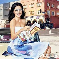 beautiful happy woman wearing vogue eyeglasses
